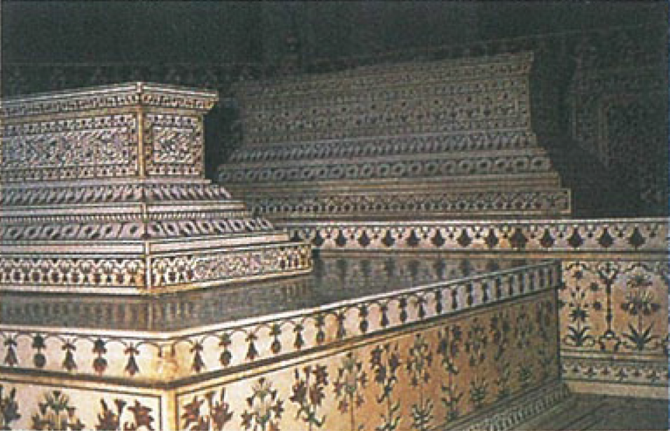 The tombs of Shah Jahan and Mumtaz Mahal, inlaid with semi-precious stones