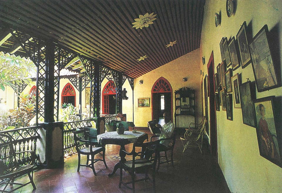 Verandah of a house in Goa, with traces of Portuguese influence.