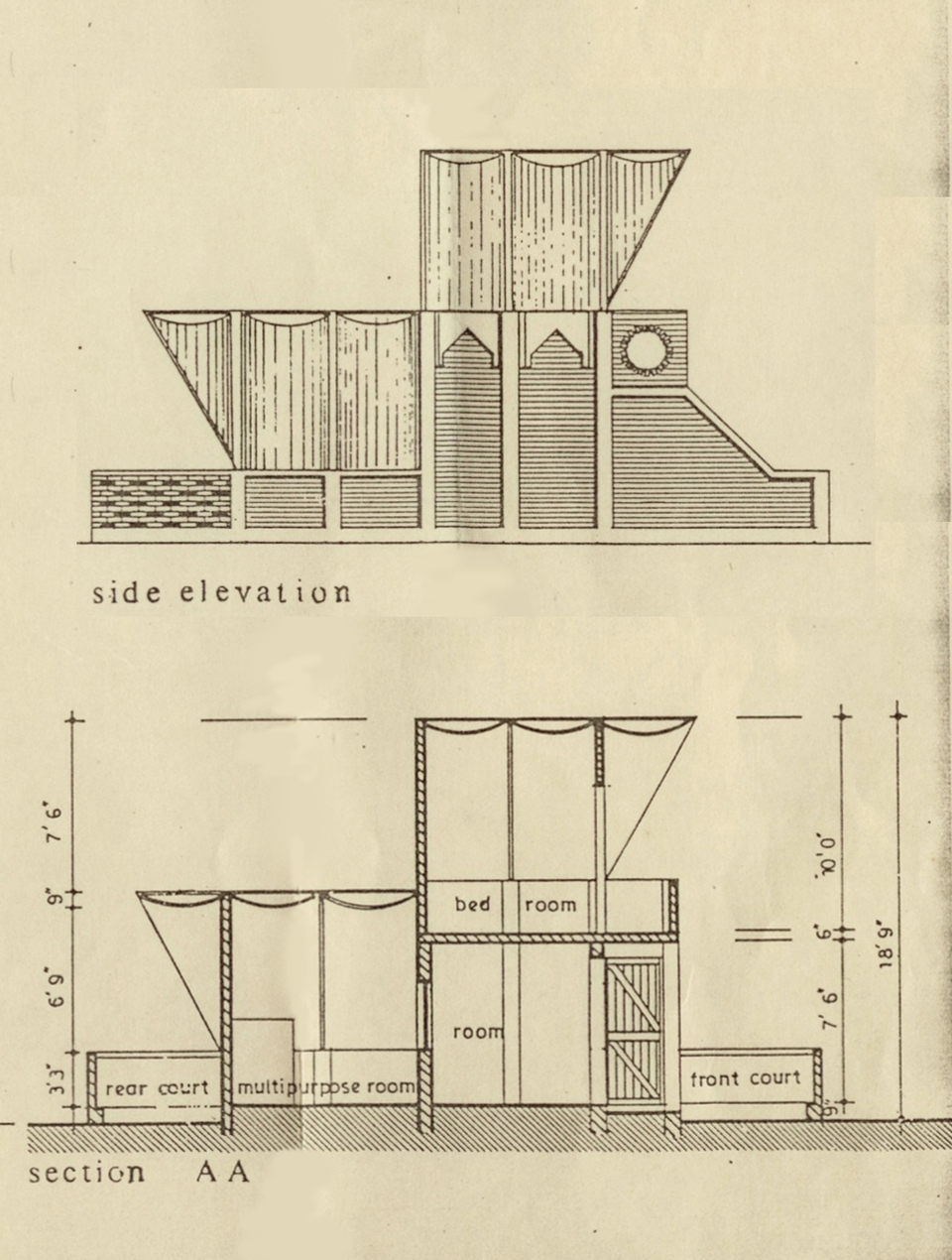 Side elevation and Section A-A