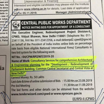 CENTRAL PUBLIC WORKS DEPARTMENT: Notice Inviting Bids for Appointment of a Consultant