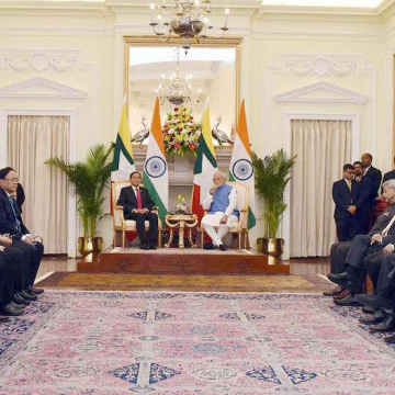 Myamar president U Win Myint and Indian prime minister Shri Narendra Modi during the exchange of agreements between India and Myanmar in New Delhi on 27 February 2020