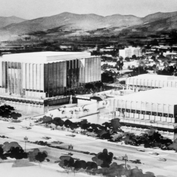 The 1964 concept art for William L. Pereira & Associates' Los Angeles County Museum of Art, before the ill-fated Hardy Holzman Pfeiffer addition along Wilshire Boulevard largely closed off the campus from the street