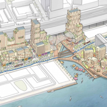 The latest rendering of Quayside, a waterfront development now being planned for Toronto by Sidewalk Labs.