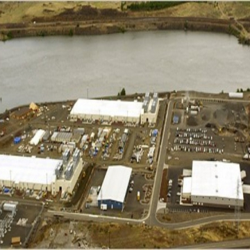 Google is building two computing centers, top and left, each the size of a football field, in The Dalles, Ore.