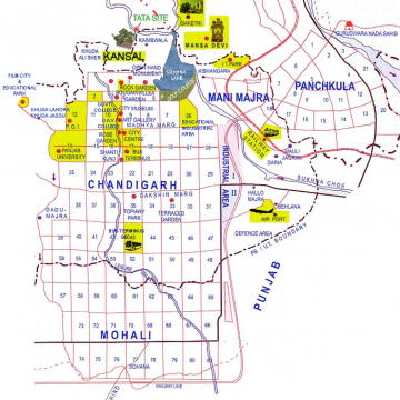 City Plan of Chandigarh showing the location of Tata Housing project at village Kansal on the north